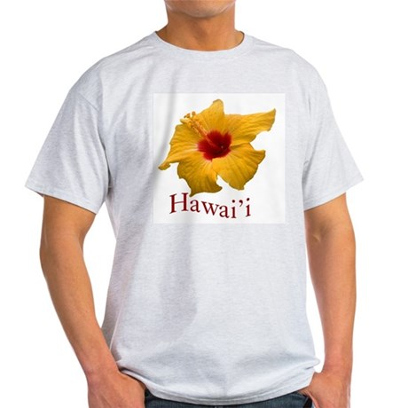 Yellow Hibiscus Ash Grey T-Shirt