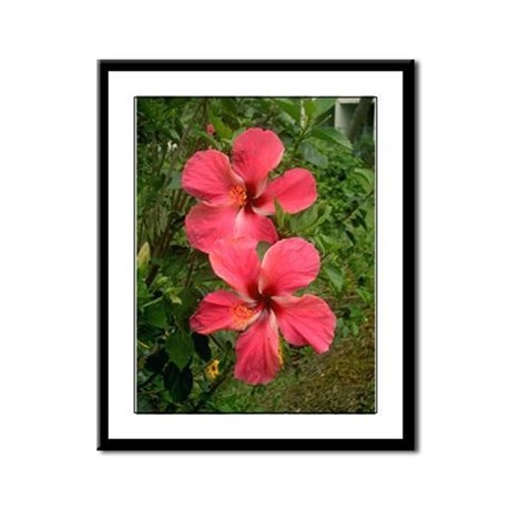Twin Hibiscus Framed Panel Print