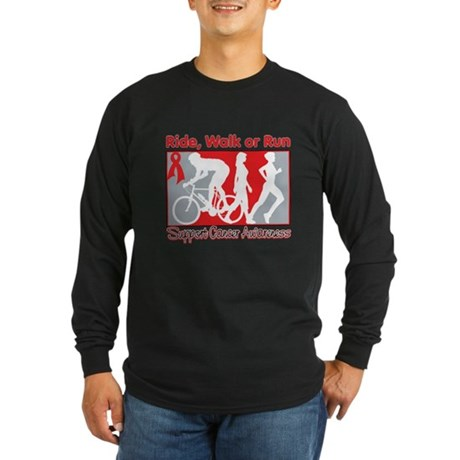 Blood Cancer Ride Walk Run Long Sleeve Dark T-Shir