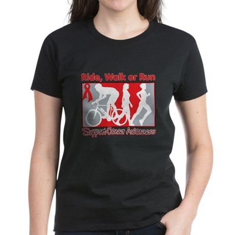 Blood Cancer Ride Walk Run Women's Dark T-Shirt