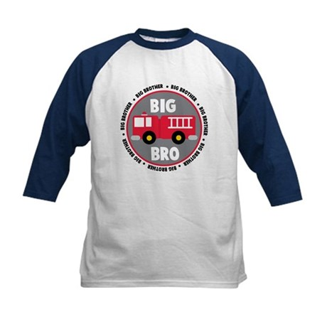 Big Brother Fire Truck Kids Baseball Jersey