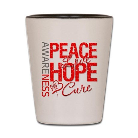 Blood Cancer PeaceLoveHope Shot Glass