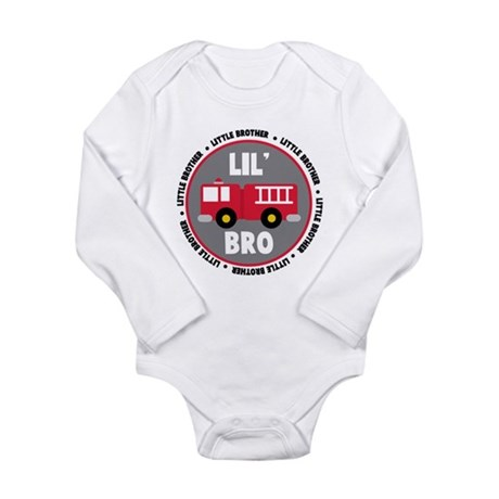 Lil Brother Fire Truck Long Sleeve Infant Bodysuit