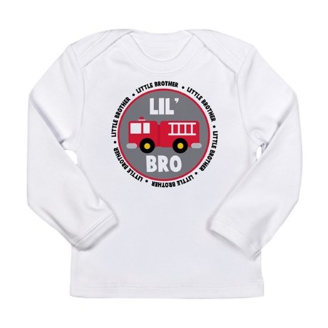 Lil Brother Fire Truck Long Sleeve Infant T-Shirt