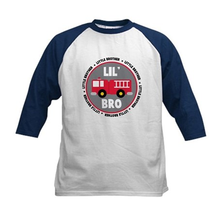 Lil Brother Fire Truck Kids Baseball Jersey