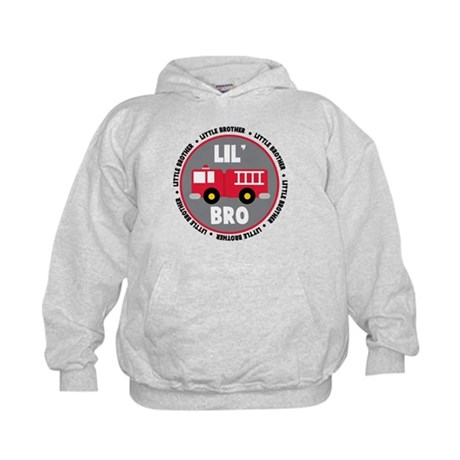 Lil Brother Fire Truck Kids Hoodie