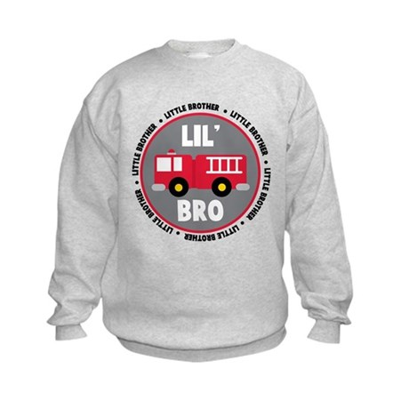 Lil Brother Fire Truck Kids Sweatshirt
