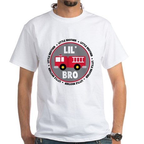 Lil Brother Fire Truck White T-Shirt