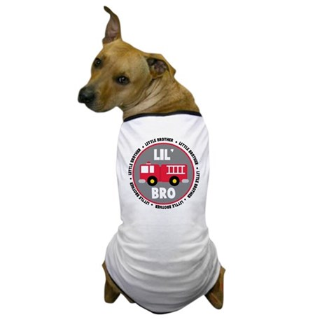Lil Brother Fire Truck Dog T-Shirt
