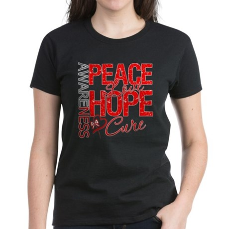 Blood Cancer PeaceLoveHope Women's Dark T-Shirt