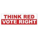 Think Red. Vote Right. Bumper Sticker