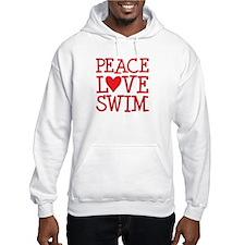 Peace Love Swim - red Hoodie