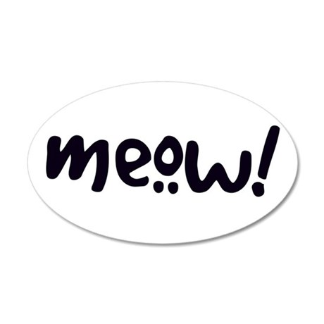 Meow! Cat-Themed 38.5 x 24.5 Oval Wall Peel