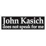 John Kasich does not speak for me bumper sticker