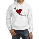 I love Clayton Hooded Sweatshirt