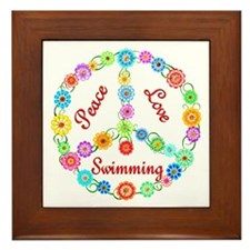 Swimming Peace Sign Framed Tile