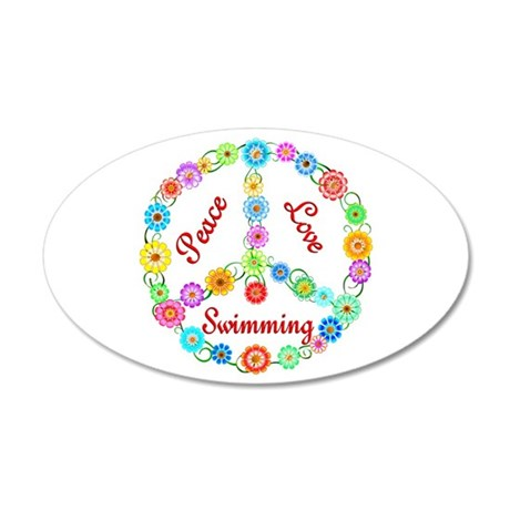 Swimming Peace Sign 22x14 Oval Wall Peel