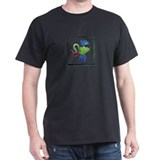 Green Peacock Bug Black T-Shirt