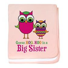 Guess Hoo Big Sister baby blanket