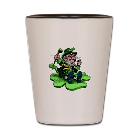 Leprechaun on Shamrock Shot Glass