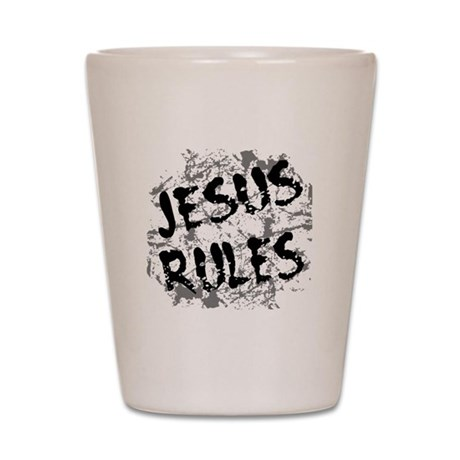 Jesus Rules Shot Glass