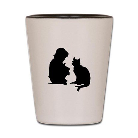 Child and Cat Shot Glass