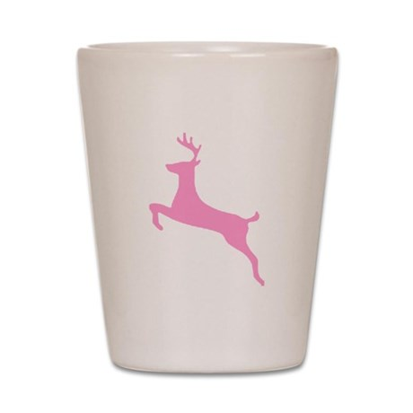 Pink Leaping Deer Shot Glass
