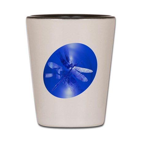 Blue Dragonfly Shot Glass