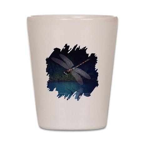 Dragonfly at Night Shot Glass