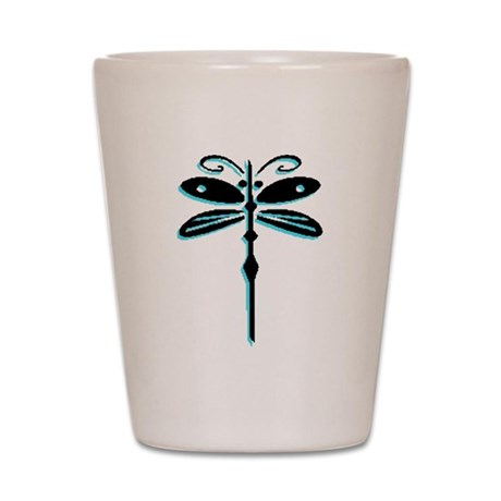 Teal Dragonfly Shot Glass