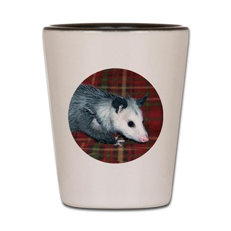 Possum on Plaid Shot Glass