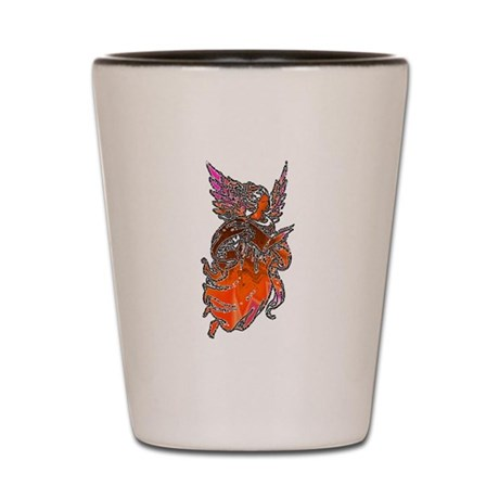 Pretty Orange Angel Shot Glass
