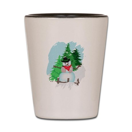 Forest Snowman Shot Glass