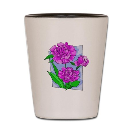 Pink Peonies Shot Glass
