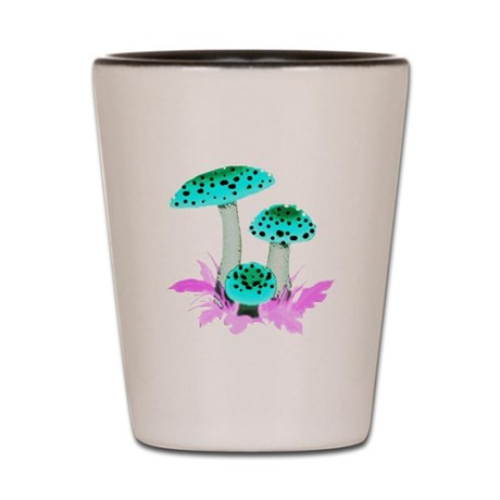 Teal Mushrooms Shot Glass