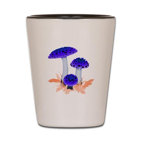 Blue Mushrooms Shot Glass