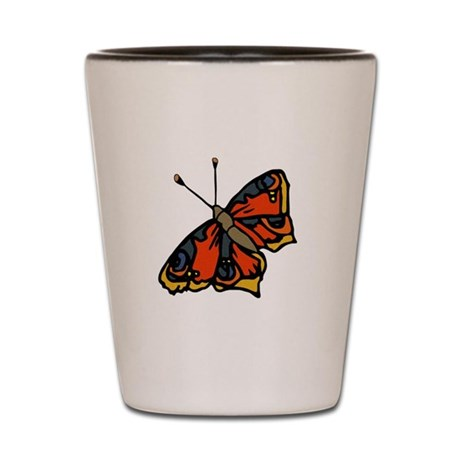 Orange Butterfly Shot Glass
