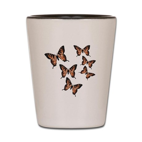 Orange Butterflies Shot Glass