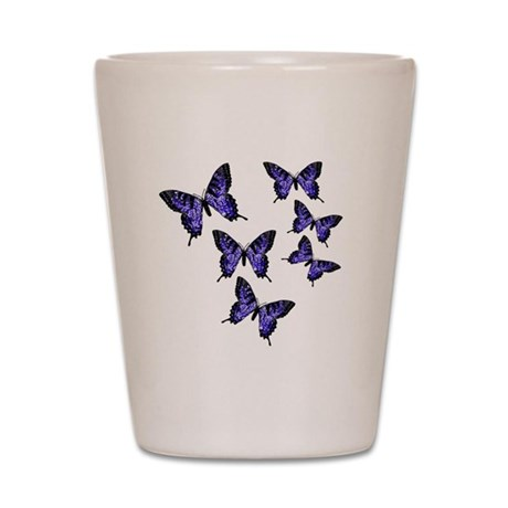 Purple Butterflies Shot Glass