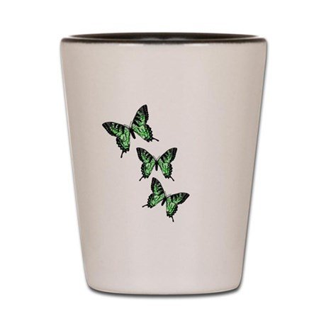 Three Green Butterflies Shot Glass