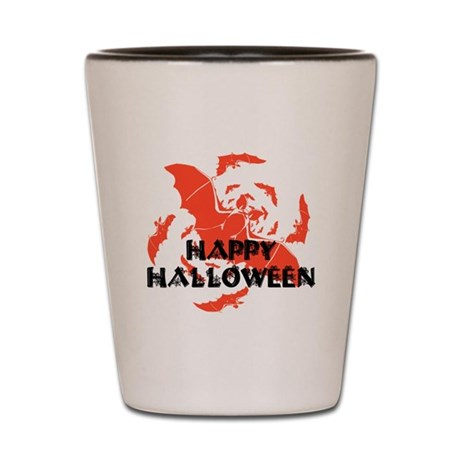 Happy Halloween Bats Shot Glass