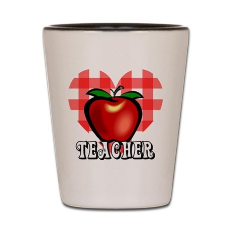 Teacher Checkered Heart Apple Shot Glass