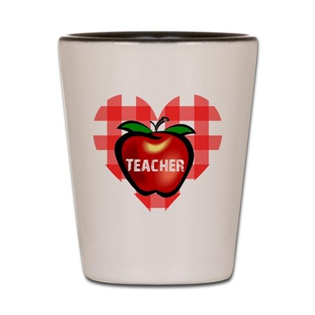 Teacher Heart Apple Shot Glass