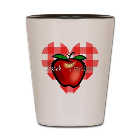 Best Teacher Checkered Heart Shot Glass