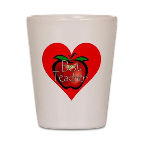 Best Teacher Apple Heart Shot Glass