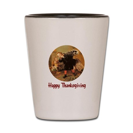 Boy and Thanksgiving Turkey Shot Glass