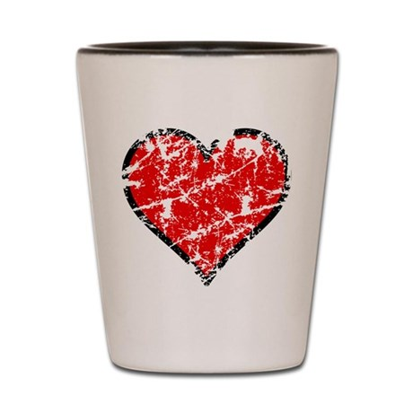 Red Grunge Heart Shot Glass