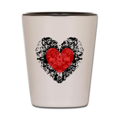 Pretty Grunge Heart Shot Glass