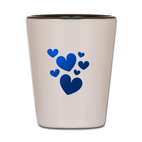 Blue Valentine Hearts Shot Glass