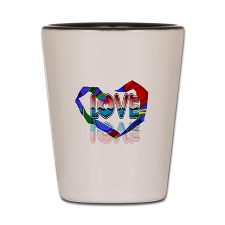 Abstract Love Heart Shot Glass